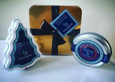 Branded Christmas chocolate tins