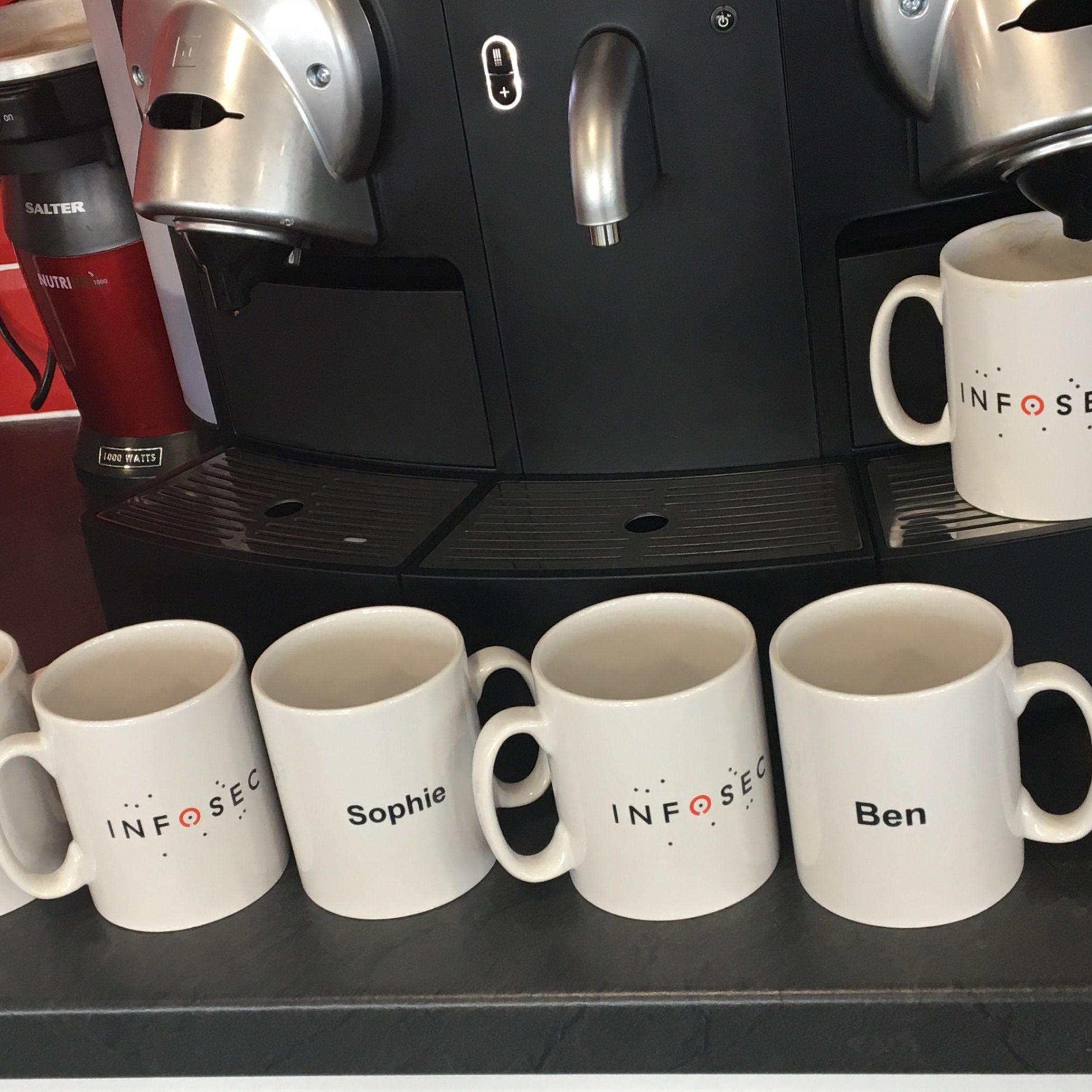 Branded mugs printed with company logo