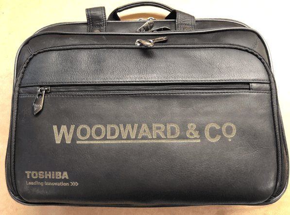 high quality leather briefcase branded with company logo